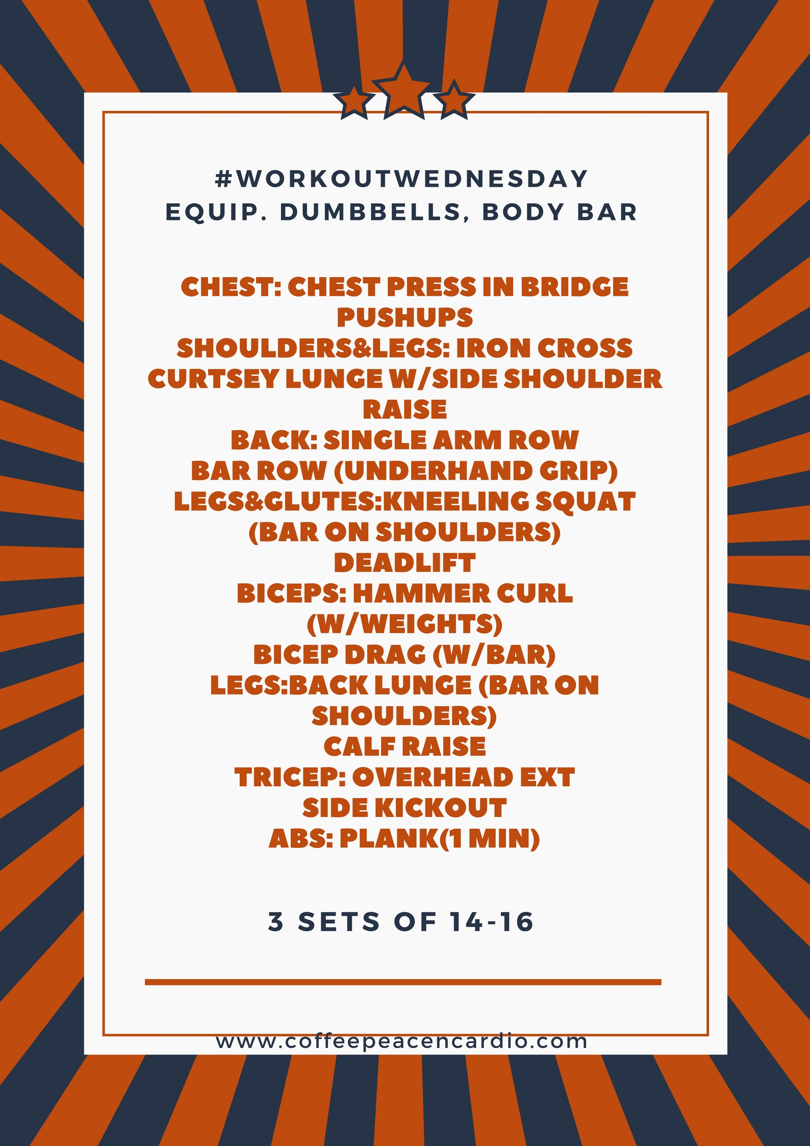_workoutwednesdayEquip. Dumbbells, Body Bar
